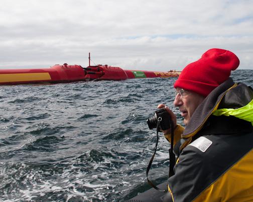 Stuart photographing Pelamis Wave Power